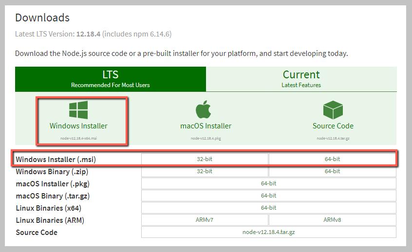 download nodejs windows