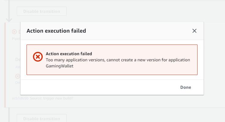 error too many application versions